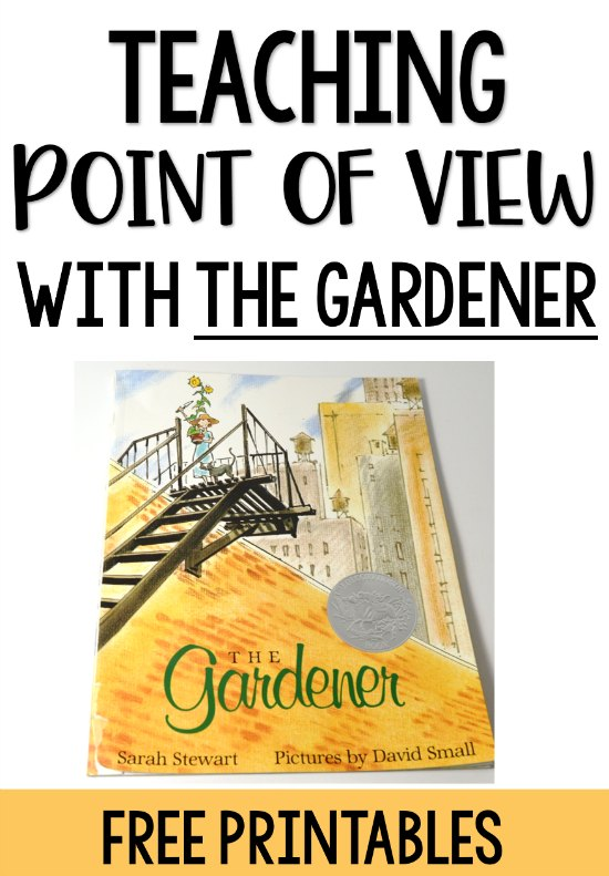 The Gardener is perfect for teaching point of view and its influence on how a story is told, characterization, and setting. Grab several free printables and read more details on this post.
