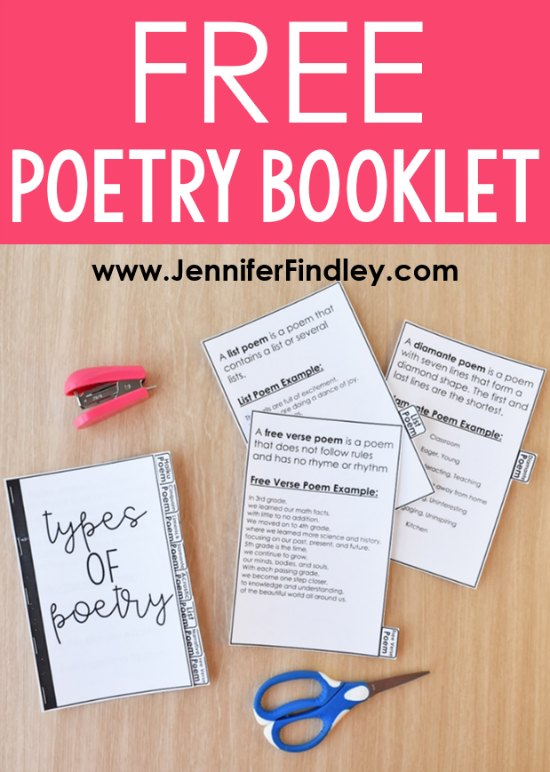 FREE Poetry Booklet! Check out these poetry activities for upper elementary that your students will love! This post includes a FREE poetry types booklet and a FREE poetry terms Bingo board!