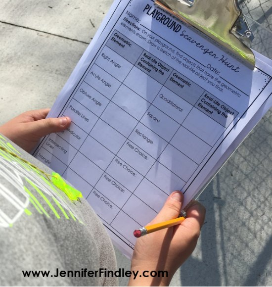 FREE Geometry Scavenger Hunt Printables. Click through to read more outdoor learning activities for grades 3-5!