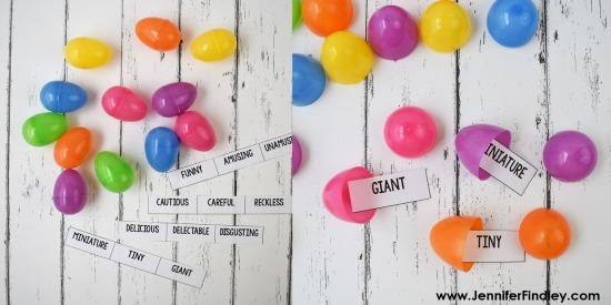 FREE synonym and antonym match up game! Using plastic eggs in the classroom is a fun break from the norm. Need some engaging ideas other than just for egg review hunts? This post shares several review games just for plastic eggs...but they can be used all year long! Many of these ideas are perfect for test prep.