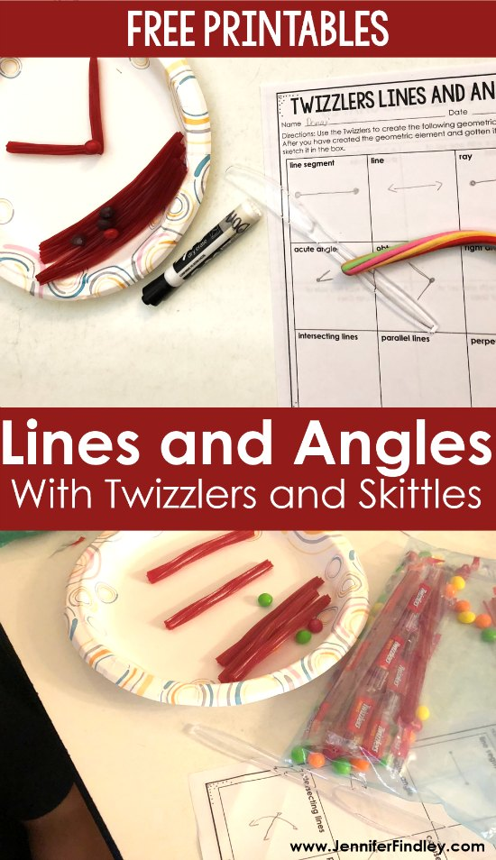 Teaching lines and angles? Check out this engaging activity using Twizzlers and Skittles! Read the details and grab all of the printables for free on this post.