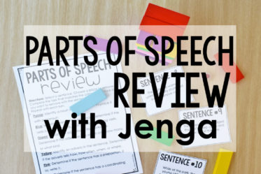Parts of Speech Review with Jenga | Free Printables