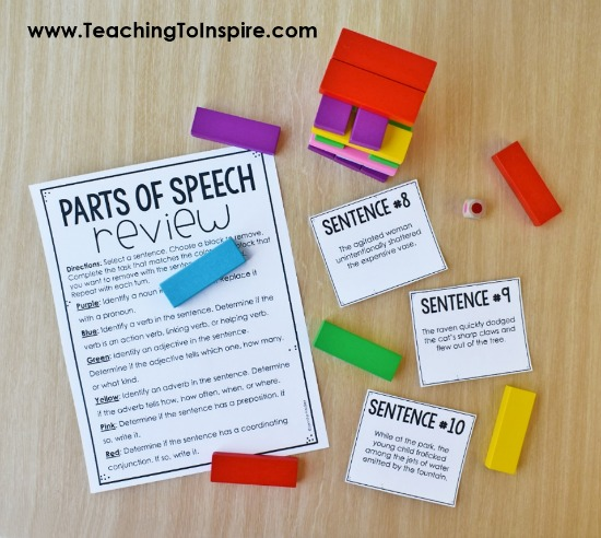 Want to review parts of speech in an engaging way? Click through to read about and download a FREE parts of speech review for 4th-5th grade using Jenga blocks.
