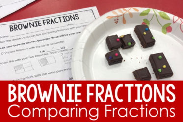 Want an engaging way to review or introduce comparing fractions? Check out this idea that uses brownies to compare fractions in three different ways. Free printables are included so you can do this comparing fractions activity with your class.
