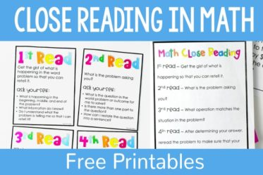 Close reading in math can be used to help students with tricky word problems, constructed response math tasks, or multi-part problems. Read more and grab some free close reading printables for math on this post.