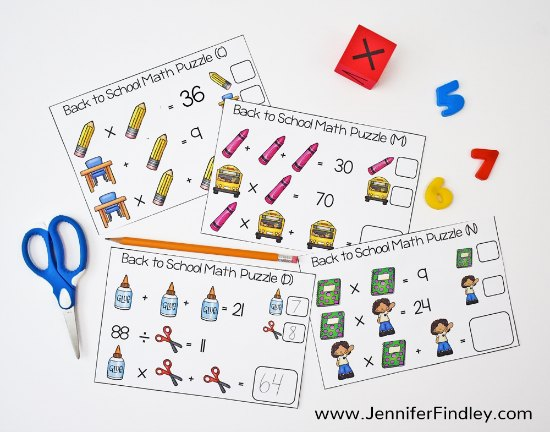 FREE Math Puzzles for the Entire Year! Challenge and engage your students with these engaging holiday and seasonal themed math puzzles! These would be perfect for math warmups or math centers.