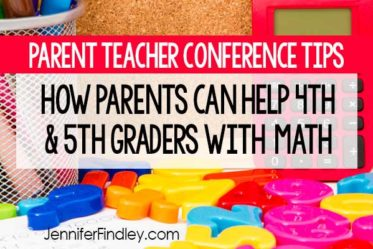 This blog post shares parent-teaching conference tips for helping 4th and 5th grade students with math at home. Free printables included!