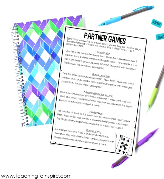 FREE printable to send home with parents to have them play math games with their students
