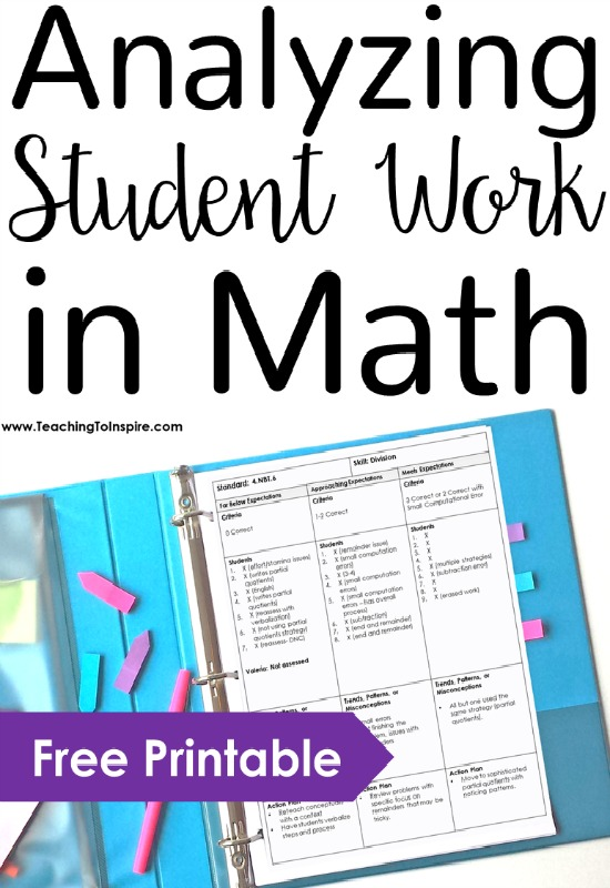 Analyzing student work in math made practical, meaningful, and a bit easier with these steps and one-page printable!