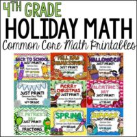 Use these seasonal and holiday math printables to review 4th grade math standards all year long. Your students will love the holiday/seasonal themes and graphics and you will love the practice and review.