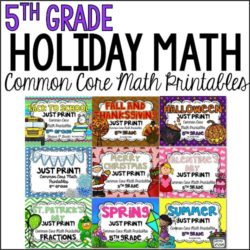 Seasonal and holiday math printables to review 5th grade math standards all year long. Your students will love the holiday/seasonal themes and graphics and you will love the practice and review.