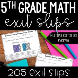 Math exit slips or exit tickets are the perfect way to assess your students in a formative way on a math skill. This resource includes over 200 math exit slips for fifth grade to last you the entire school year.