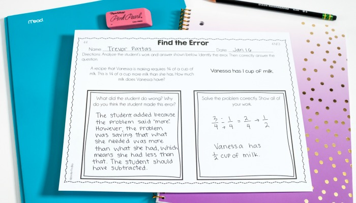 Error analysis math tasks are a great higher order thinking activity to challenge and engage your students.