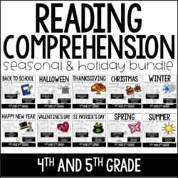 Holiday Reading Comprehension Passages and Activities for the ENTIRE year! You and your students will love these reading comprehension passages and activities with fun holiday and seasonal themes.