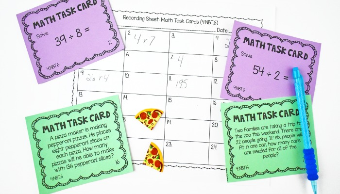 Math task cards are a must! They can be used for math centers, math small group, reteaching, and so much more! Check out task cards that cover all of the CCSS standards for grades 3-5 here.
