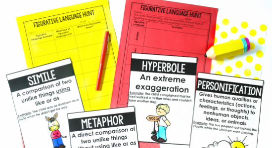 FREE figurative language scavenger hunt! Check out this post for more ideas and resources for teaching figurative language, including mentor texts and read alouds.