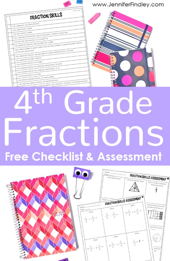 Keep track of all of the 4th grade fraction skills and standards with this free checklist and use the free 4th grade fractions assessment to monitor student mastery.
