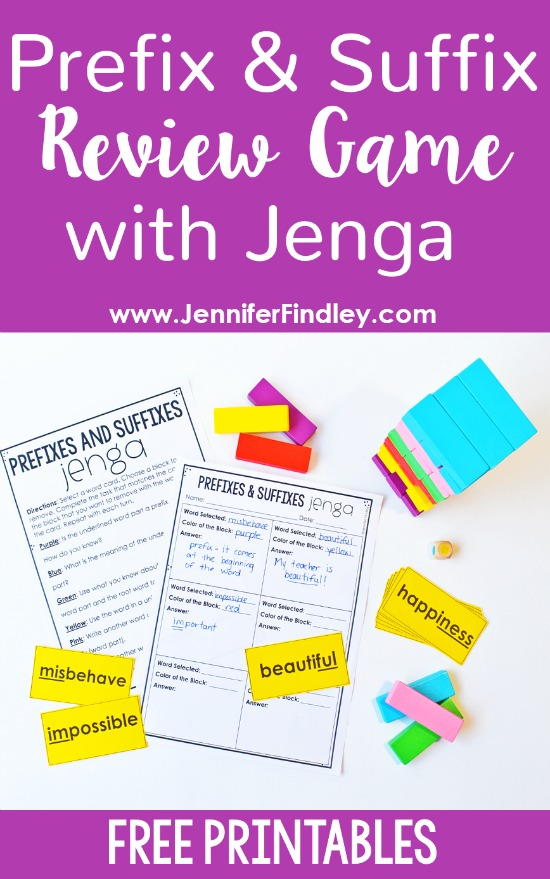 Review affixes with this prefix and suffix review game with Jenga blocks! Get all the details and free printables to engage your students in this fun review of prefixes and suffixes!