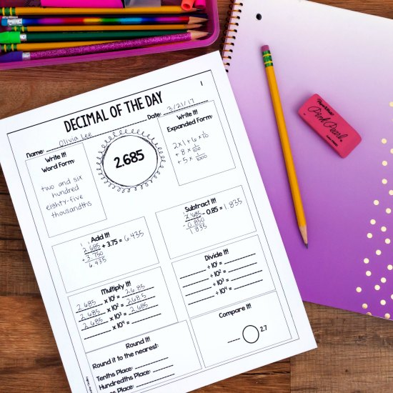 Decimal of the day printables are the perfect way to spiral review decimal skills.