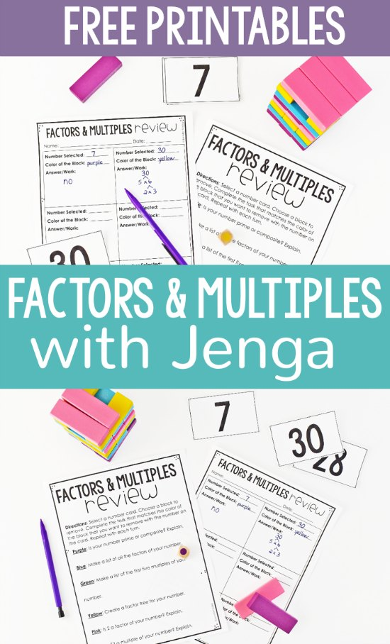 photo relating to Factor Game Printable referred to as Totally free Causes and Multiples Sport with Jenga