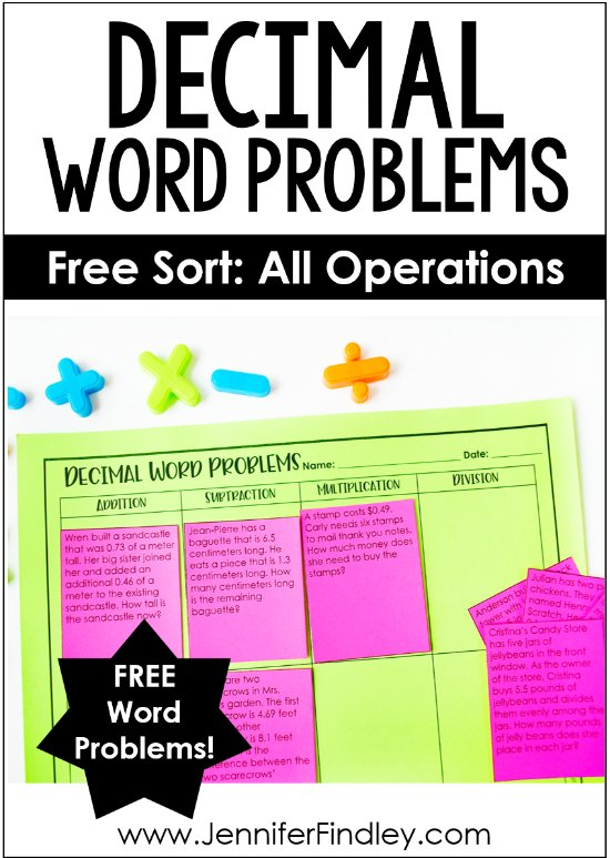 Free decimal word problems! Use this sort to help your students practice determining which operation to use when solving decimal word problems. Check out this post for the free printable and even more tips for teaching decimal word problems.