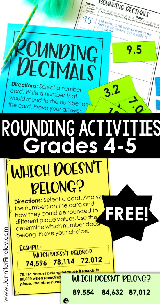 Rounding is a skill that can easily be kept at a lower level or taught with tricks. Keep that from happening with these higher level and free rounding activities. There are versions for rounding whole numbers and rounding decimals.