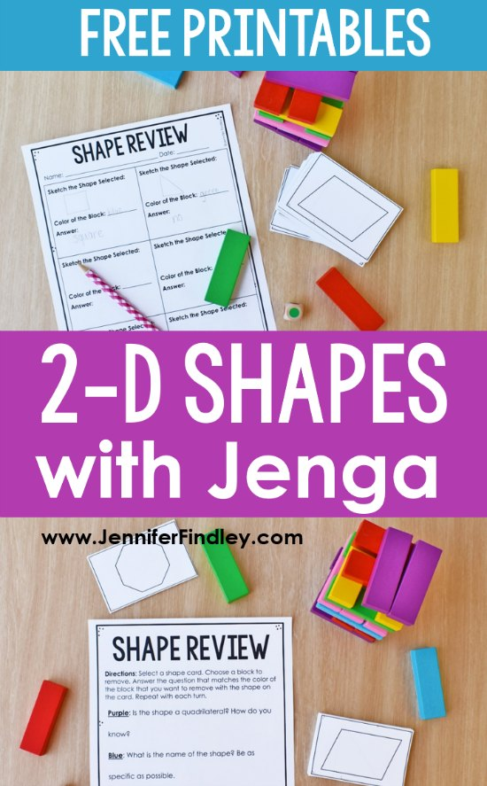 Want to review 2-D shapes in an engaging way? Click through to read about and download a FREE 2-D shapes game for 4th-5th grade using Jenga blocks.