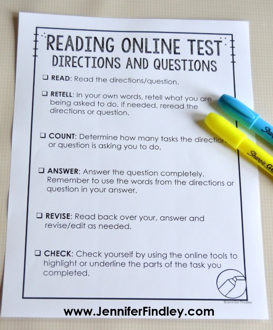 FREE printable for teaching students how to read and understand online testing directions and questions.