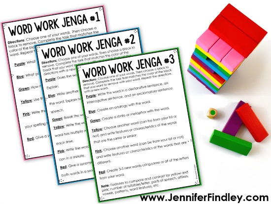 Looking for new engaging word work activities for your 4th and 5th graders? These FREE word work activities using Jenga will engage your students as they work with their spelling or word work lists.
