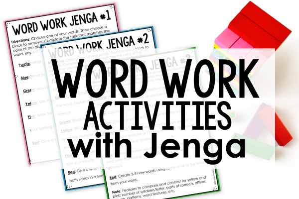Word Work Activities with Jenga (Free Printables) - Teaching