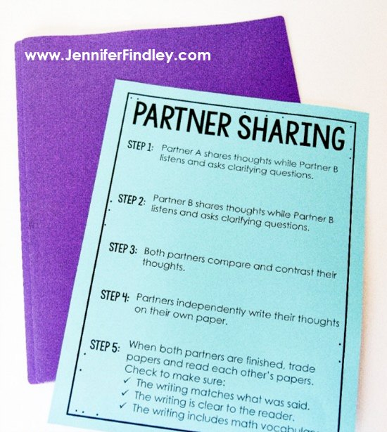 Having students share their ideas with partners before writing is a great way to get students writing more in math. Free poster on this post with nine other ideas.