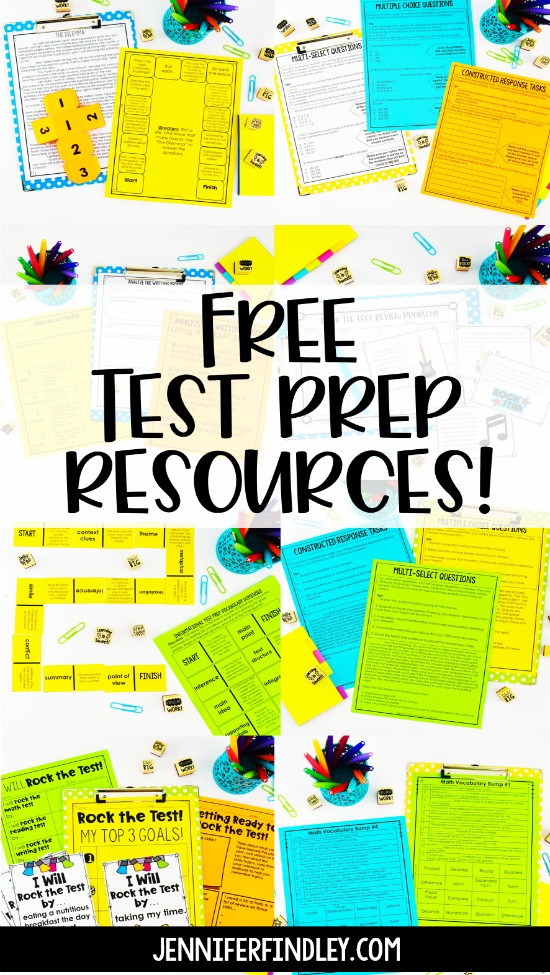 Sign up for free test prep activities! These test prep resources are for 4th and 5th grade math and literacy teachers!