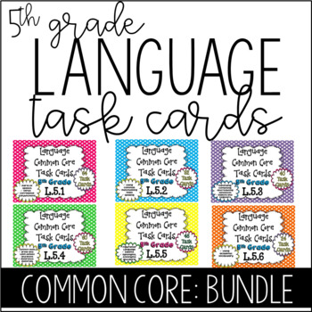 5th Grade Language Task Cads!