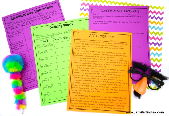 FREE history of April Fools' Day with reading comprehension activities. Read more ideas for April Fools' Day in the classroom on this post.