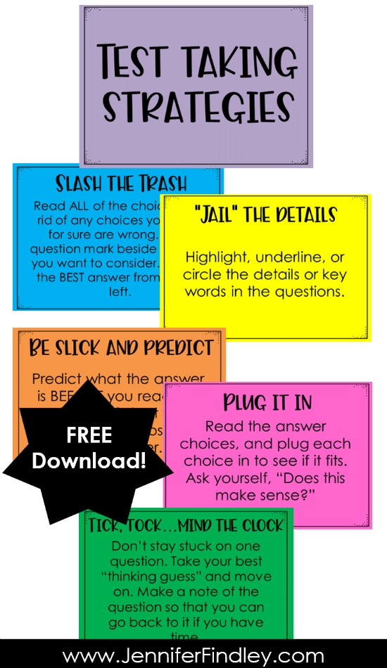 FREE test taking strategies posters…you can also sign up for free teaching resources to help teach and model each test taking strategy.