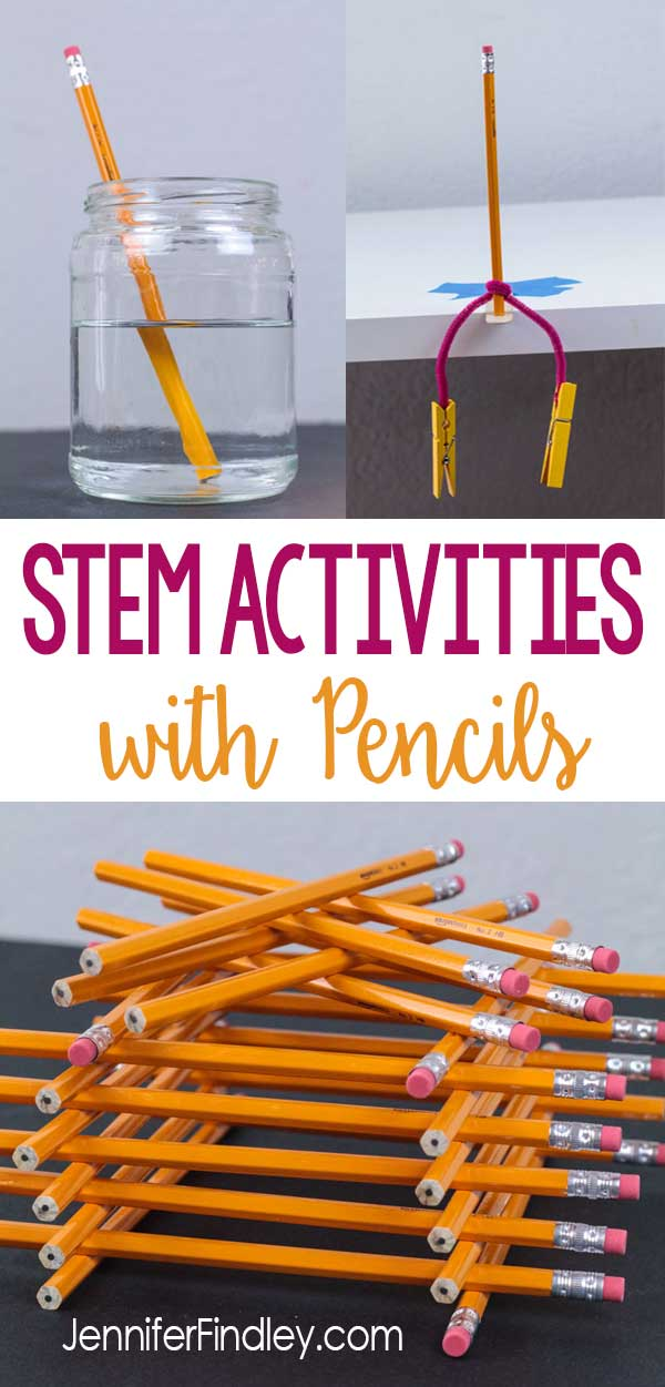 STEM activities using pencils are easy to prep and implement for back to school and end of the year stem challenges. Check out three popular STEM and science activities using pencils. Free printables included!