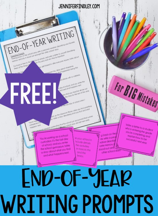 Free writing prompts for the end of the year! These end of year writing prompts make perfect whole group writing activities, writing centers, writing warmups, or independent writing the final month of school.