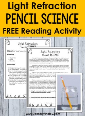Light refraction activity with pencils! Read more about this easy to prep and execute science activity and grab a free reading activity to use with it.