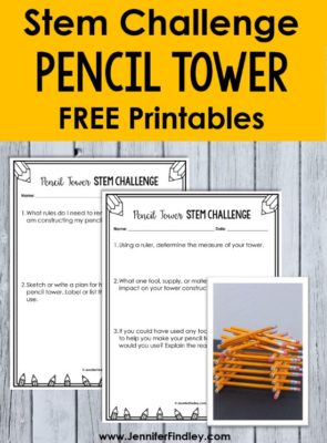 Build a Pencil Tower! STEM activities using pencils are easy to prep and implement for back to school and end of the year stem challenges. Check out three popular STEM and science activities using pencils. Free printables included!