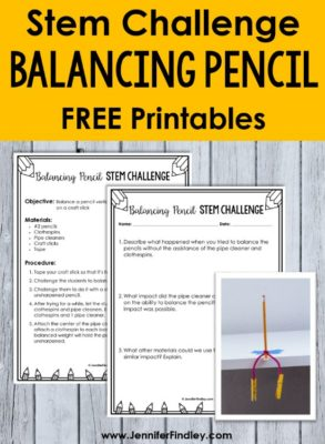 Balancing pencils STEM activity! STEM activities using pencils are easy to prep and implement for back to school and end of the year stem challenges. Check out three popular STEM and science activities using pencils. Free printables included!