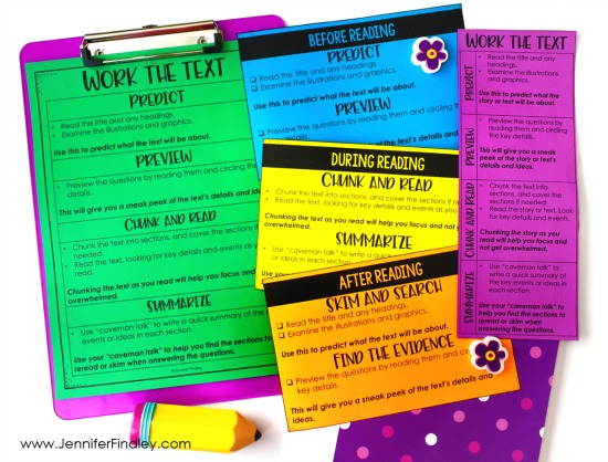 Work the text! This reading test prep strategy helps students engage with and comprehend lengthy texts on state assessments. Read more and grab FREE printables on this post.