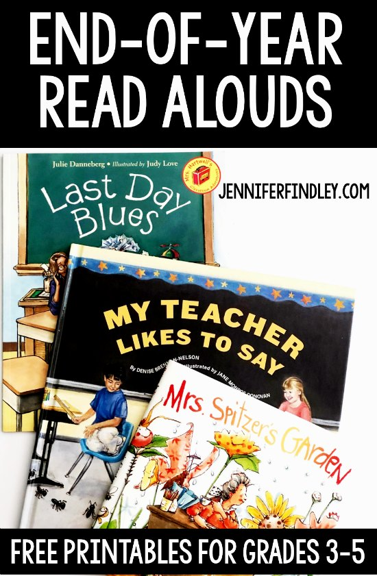 End-of-year read alouds for grades 3-5! Read more about these read alouds that are perfect for the end of the year and grab free printables!