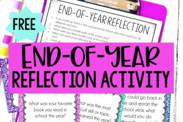 FREE end of year reflection activity for grades 3-5! Use the reflection questions to have your students reflect on the school year and set goals for the next year.