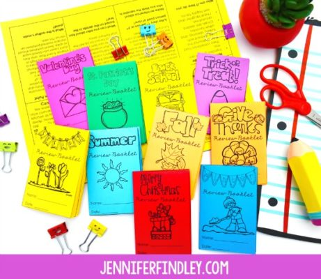 FREE seasonal and holiday reading review mini-booklets for 4th and 5th grade. The novelty and engaging themes will keep your students engaged as you review key reading skills in bite-sized chunks!