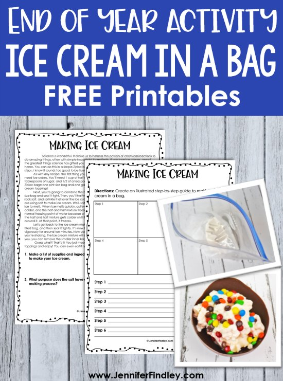 Making ice cream in a bag free printable reading passage for grades 4-5!