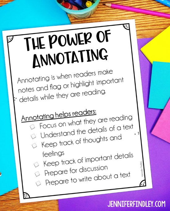 Free printable to use when teaching your students to annotate texts.
