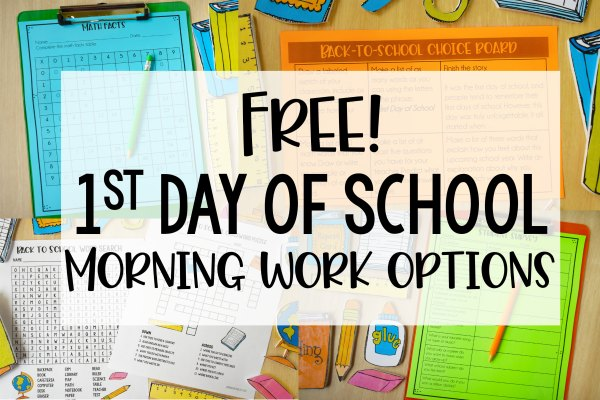 First Day of School Activities for Morning Work (Free