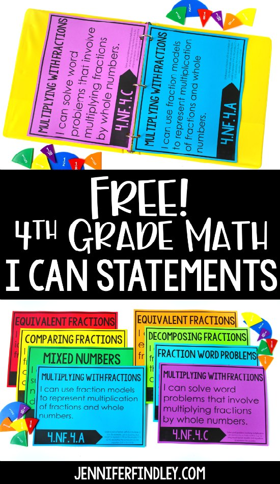 FREE 4th Grade Math I Can Statements! Download free I Can Statements for 4th grade math and read ideas for how to use these in your classroom.