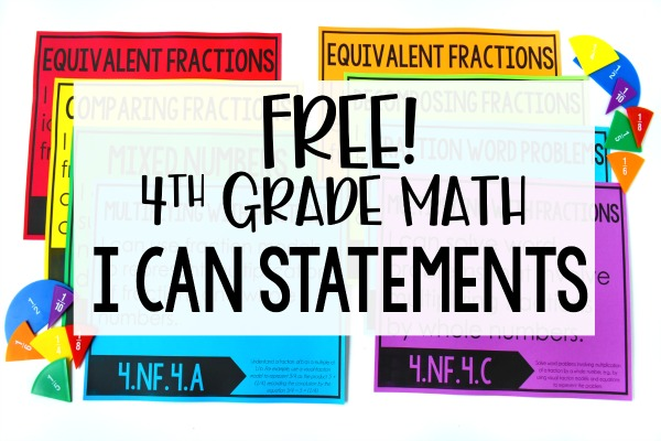 Free Math I Can Statements For 4th Grade - Teaching With Jennifer Findley
