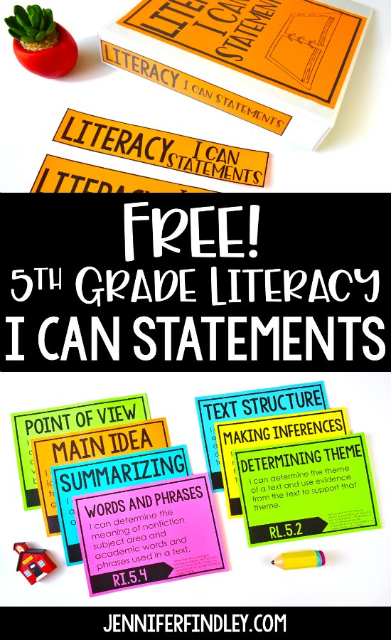 FREE 5th Grade Literacy I Can Statements! Download free I Can Statements and read ideas for how to use these in your classroom.